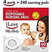 iLove Nursing Pads | 4 Packs of 60 (240 Count) | Ultra Thin Disposable Breast Pads for Breastfeeding Mothers