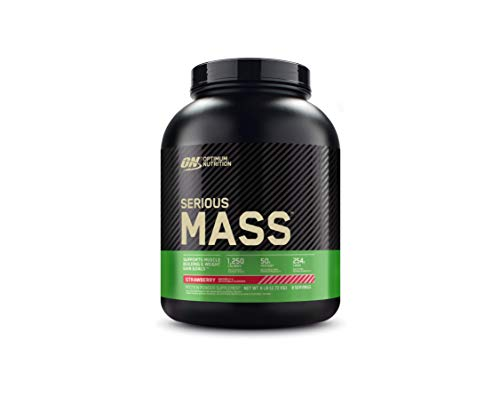 Optimum Nutrition Serious Mass Protein Powder High Calorie Mass Gainer with Vitamins, Creatine and Glutamine, Strawberry, 8 Servings, 2.73 kg