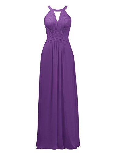Alicepub Keyhole Plus Size Bridesmaid Dress Long Formal Evening Prom Gown for Wedding Maxi, Purple, US20