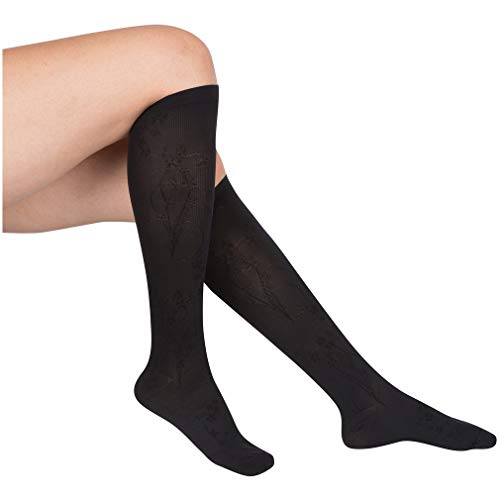 EvoNation Womens Floral Pattern USA Made Graduated Compression Socks 15-20 mmHg Moderate Pressure Medical Quality Ladies Knee High Support Stockings, Best Comfort Fit Circulation Hose (Medium, Black)