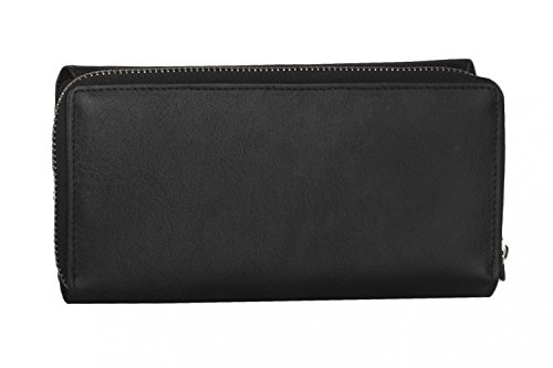 cartera mujer PIERRE CARDIN negro en cuero con abertura zip y boton