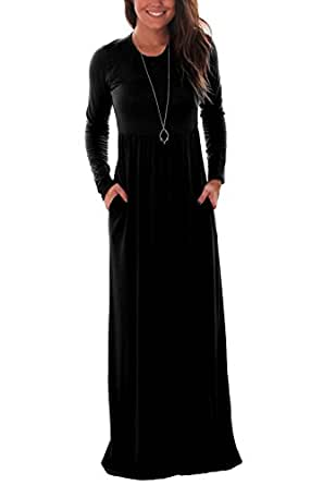 DawnRaid Women Long Sleeve Loose Plain Maxi Dresses Casual Long Dresses With Pockets Black S