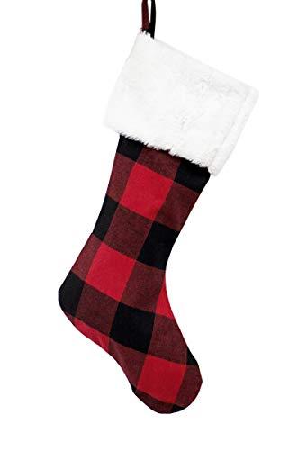 Fennco Styles Buffalo Plaid Red and Black with Faux Fur Border Design Christmas Tree Skirt (White Fur Stocking 13
