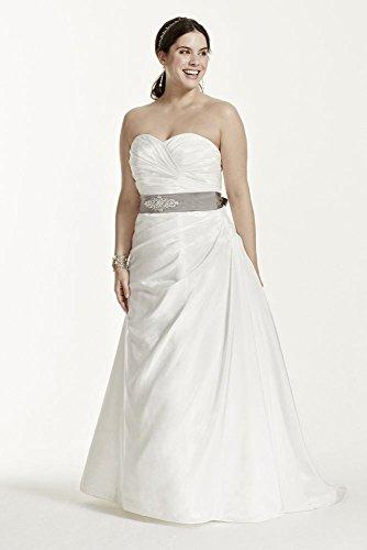 Taffeta Ruched A-Line Plus Size Wedding Dress Style 9WG3243 – 14 Plus, Soft White
