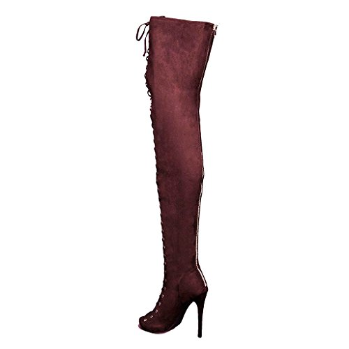 High up Suede Boots Women Toe Lace Zipper Heels Peep with Thigh YDN Dark Red High Winter qE0wT0