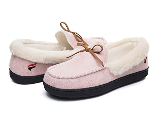 FOOTTECH Women Moccasins Slippers Faux Fur Lined Suede and Memory Foam, Breathable Indoor Outdoor Comfy Shoes