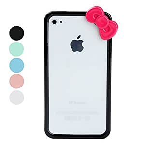 JJE Protective Hard Silicone Bumper for iPhone 4 and iPhone 4S (Bows, Assorted Colors) , Black