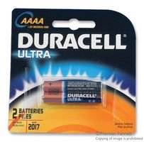 DURACELL MX2500B2PK Non-rechargeable Battery, Alkaline, 1.5 V, AAAA, Raised Positive and Flat (Aaaa Alkaline Batteries)