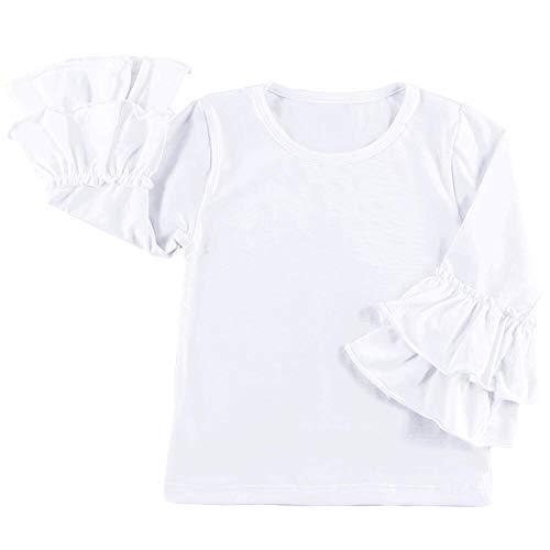 Little Girls' Long-Sleeve Icing Lotus Ruffle Cotton T-Shirt Cuff Undershirt School Tee Christmas Outfits Raglan Casual Blouse White 18-24 Months