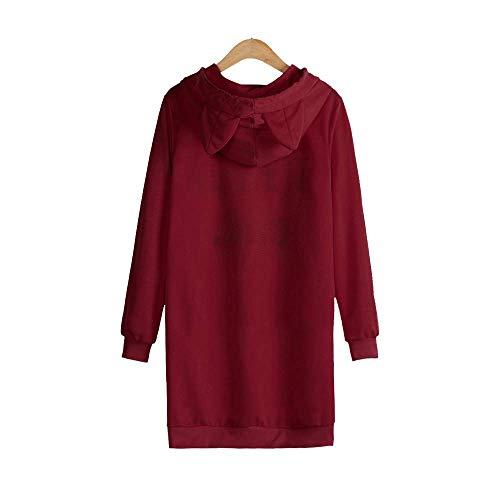 Capuche Chat Taille Zhrui Grand Lettre Vin Robe Mini Manches Un À Vin Longues Suis Je Womens couleur Et Imprimé Avec TUrqUPIn