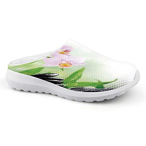 - Spa Comfortable Summer Mesh Sandals,Zen Basalt Stones and Orchid with Dew Peaceful Nature Theraphy Massage Meditation Decorative for Women,US Size10