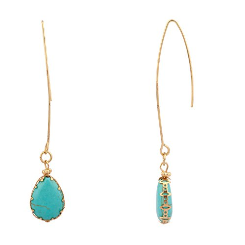 Lux Accessories Dangle Teardrop Synthetic Turquoise Stone Earrings (Womens Earring Synthetic)