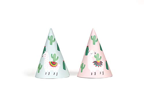 Llamas In Hats (Llama and Cactus - Party Hats | 12 pack | Llama Themed Party Hats in Teal and Pink | Fiesta Celebration | Summer Party Supply | Children Birthday Party, Baby)