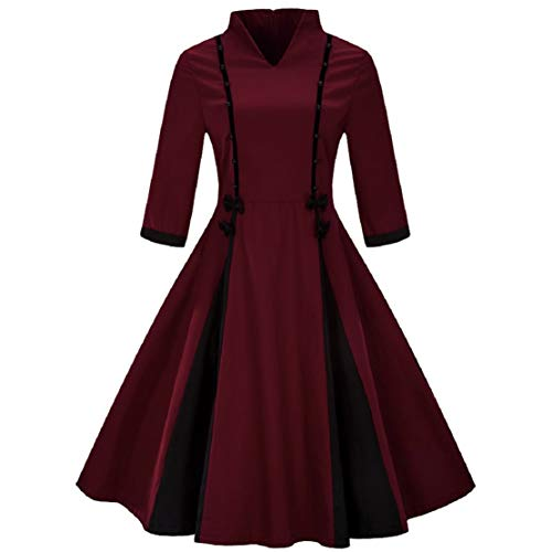 Women 1950S Vintage Stand Collar Party Swing Dress Retro Half Sleeve Hepburn Style Flare Dress by Lowprofile Wine