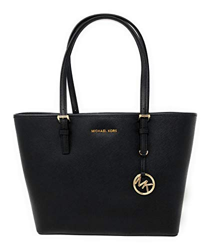 Michael Kors Jet Set Medium Carryall Tote Bag Purse Black