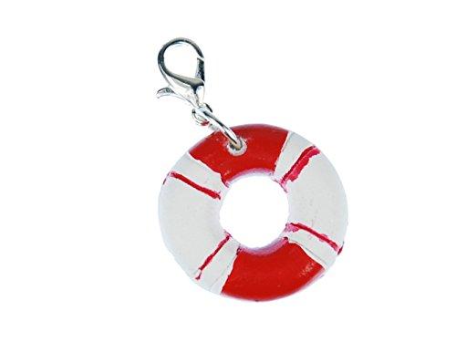 Rettungsring maritim Charm Anhänger Schiff Segeln Boot Miniblings Ring rot weiß