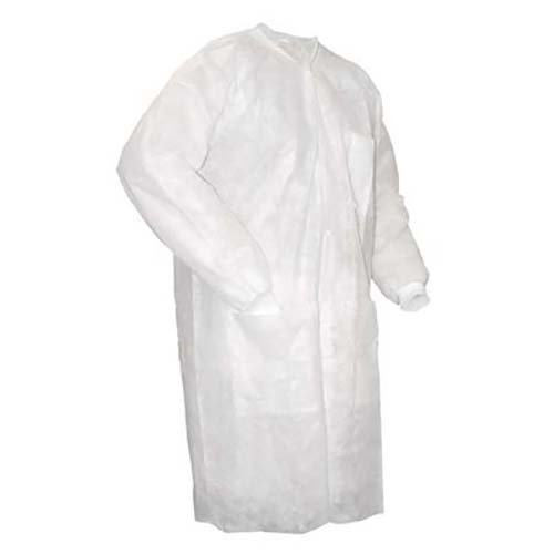 Pinnacle Textile L21M 5.25 OZ POPLIN 80//20 Polyester//Cotton GRIPPERS MALE LAB COAT KNIT CUFFS-Small-White Pinnacle Textiles L21M-S-WH