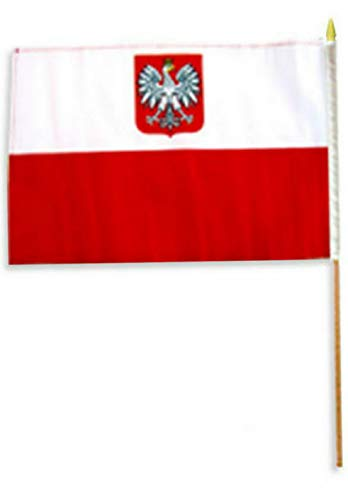 Hebel 12x18 12x18 Polish Poland Eagle Stick Flag Wood STF Super Polyester (24inch) | Model FLG - 176