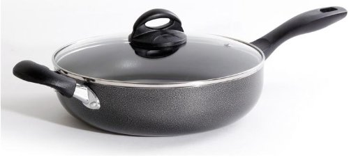 (Oster 75663.02 Clairborne 10.25 Inch Aluminum Non Stick Covered Saute Pan, Grey)