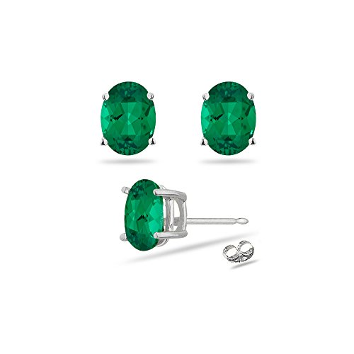 Oval 5x3mm Emerald (0.36-0.50 Cts of 5x3 mm AAA Oval Russian Lab Created Emerald Stud Earrings in 14K White Gold)