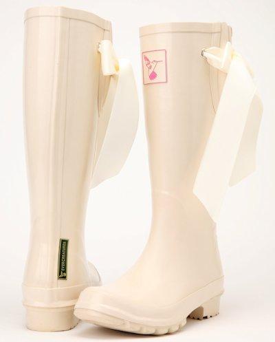 Evercreatures Ladies Bridal Wedding Rubber Wellies Silk Ribbon - Various Sizes
