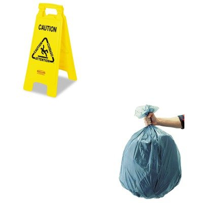 KITRCP501188GRARCP611200YW - Value Kit - Rubbermaid-Yellow Folding Floor Signs (RCP611200YW) and Rubbermaid 5011-88 Tuffmade Polyliner Low-Density Can Liners, 55 Gallons ()