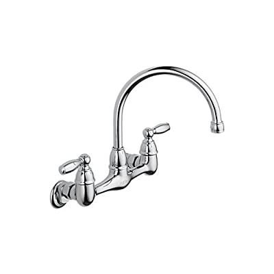 Peerless P299305LF Kitchen Faucet Wall Mounted with Double Ergonomic Blade Handl,