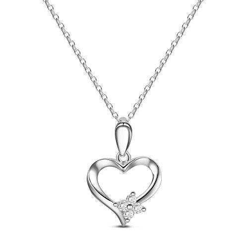 SWEETIEE - Collier en 925 Argent Sterling, Pendentif Coeur Avec Fleur Zircon, Platine, 450mm
