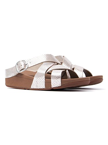 (FitFlop Womens The Skinny Criss Cross Slide Sandal Shoes, Silver Snake, US 9)