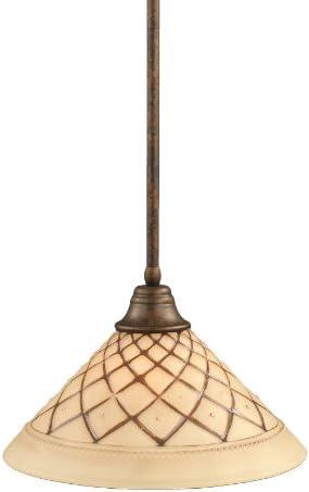 Toltec Lighting 26-BRZ-718 Stem Pendant Light Bronze Finish with Chocolate Icing Glass, 16-Inch