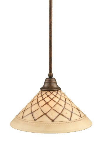 - Toltec Lighting 26-BRZ-718 Stem Pendant Light Bronze Finish with Chocolate Icing Glass, 16-Inch