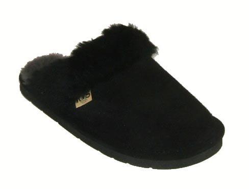 RJ's Fuzzies Womens Leather Scuffs Slippers (Black, M)