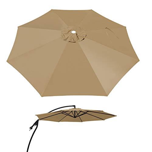 BenefitUSA 9ft- 8rib Umbrella Top Cover Canopy Patio Replacement Canopy Outdoor (Tan)