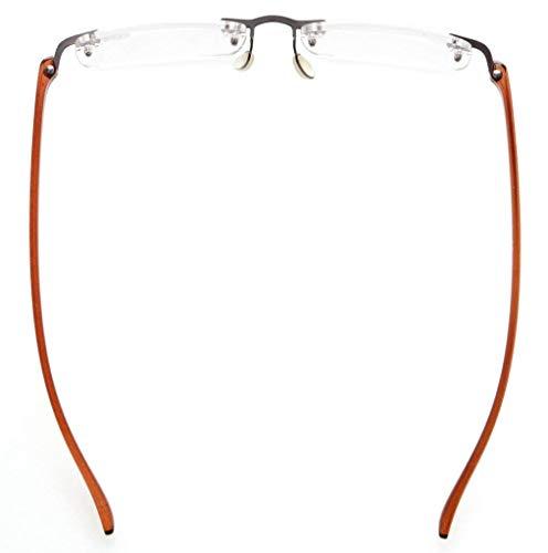 0ab6f7cd6654 Eyekepper Readers Small Lenes Rimless Reading Glasses Brown Arm +0.75