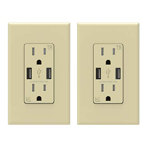 (ELEGRP USB Charger Wall Outlet, Dual High Speed 3.6 Amp USB Ports, 15 Amp Duplex Tamper Resistant Receptacle NEMA 5-15R, Wall Plate Included, UL Listed (2 Pack, Ivory))