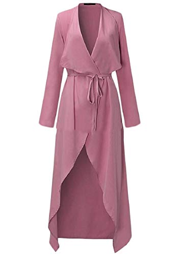 Trenchcoat Solid Turn Lace Women Pink Jacket Detail Down up Howme Collar q6z5F