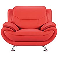 American Eagle Furniture Highland Faux Leather Living Room Sofa Chair with Pillow Top Armrests, Red