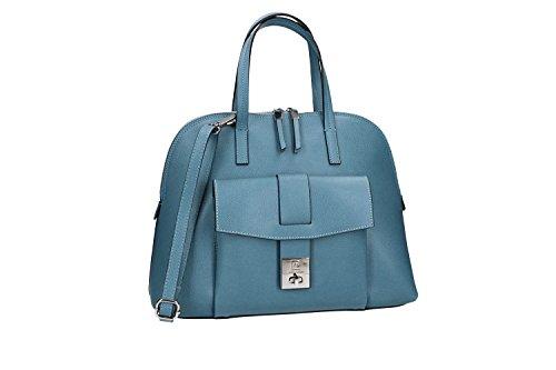 Borsa donna a mano con tracolla PIERRE CARDIN azzurro pelle Made in Italy VN1466
