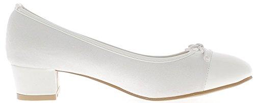 Escarpins blancs bi matière bouts ronds à petits talons de 3,5cm