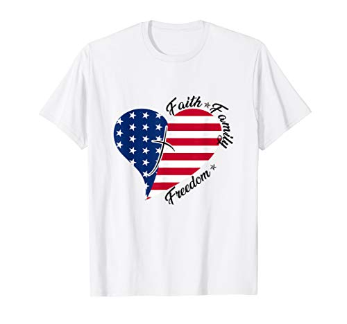 Freedom Womens Dark T-shirt - Faith Family Freedom T Shirt American Flag 4th of July Gift