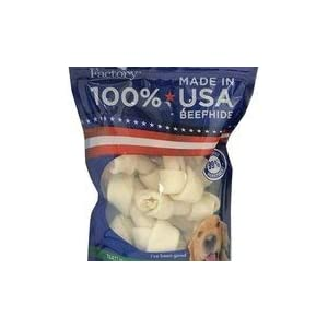Pet Factory 78114 Beefhide Dog Bones 4-5″ 8 Pack, 99% Digestible Rawhide Treats, 100% Natural Rawhide Knotted Bones, Natural Flavor, Resealable Package, Made in USA