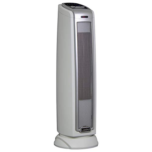 Lasko 5775 Electric 1500W Ceramic Space Heater Tower with Thermostat and Auto-Off Timer for Bedroom and Indoor Home…
