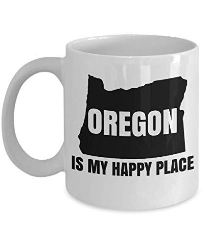 Oregon Is My Happy Place State Map Art Print Coffee & Tea Gift Mug, Office Table Décor, Ornament, Accessories, Products, Items, Merchandise, Travel Souvenirs & Christmas Gifts For Men & Women (11oz)
