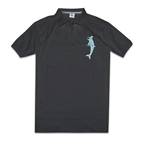 パイナップルメンズポロシャツ紳士的なイルカ 海豚 鯆 アニマル 可愛い ドライポロシャツ Black