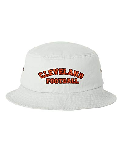 Go All Out One Size White Adult Cleveland Football Embroidered Bucket Cap Dad -