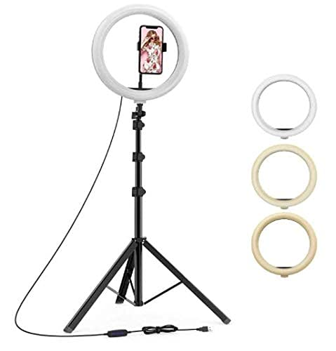 Jeteck 7 Feet Long Tripod Stand (84 Inch) with 10″ LED Ring Light Combo for Tiktok MX Taka tak Instagram Reels YouTube Shooting and Recording with Mobile Phone Camera Clip Setup