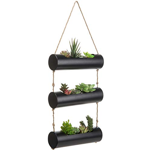 3-Tier Black Metal Wall-Hanging 10-Inch Cylinder Trough-Style Planters for Succulent Cactus Plants