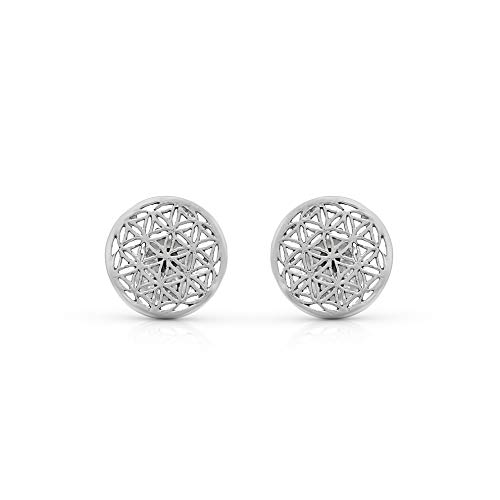 925 Sterling Silver Seed Life Stud Earrings Sacred Geometry Flower Life Yoga Jewelry