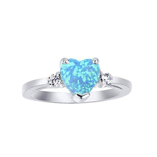 CloseoutWarehouse Light Blue Simulated Opal Cubic Zirconia Heart Ring Sterling Silver Size 5