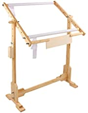 oshhni Needlework Table Lap Hands-Free Stand with Adjustable Frame Made of Organic Wood Tapestry Cross Stitch Rack Embroidery Hoop Frame Holder